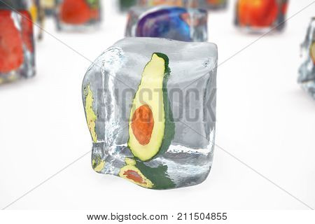 Avocado in ice cube isolated on white with depth of field effects. Ice cubes with fresh berries. Berries fruits frozen in ice cubes. 3D rendering