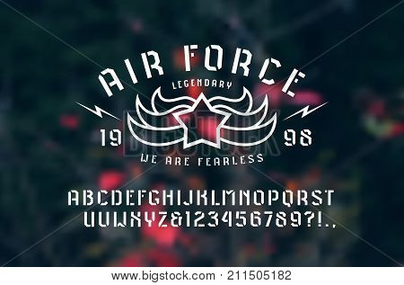 Stencil-plate sans serif font and air force emblem. Letters and numbers for logo and t-shirt design. Print on blurred background