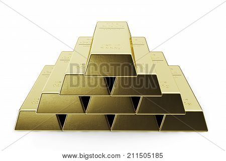 Gold Bars isolated on white background, weight of Gold Bars 1000 grams Concept of wealth and reserve. Concept of success in business and finance. 3d illustration