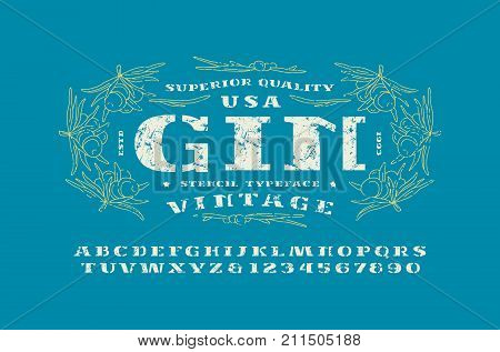 Stencil-plate serif font and gin label template. Letters and numbers with rough texture for logo and label design. Print on blue background