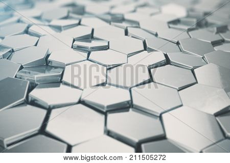 Silver abstract hexagonal background with depth of field effect. Structure of a large number of hexagons. Steel honeycomb wall texture, shiny hexagon clusters background. 3D rendering