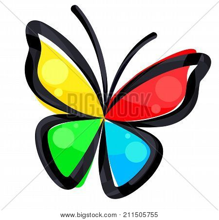A logo of the stylized color butterfly.