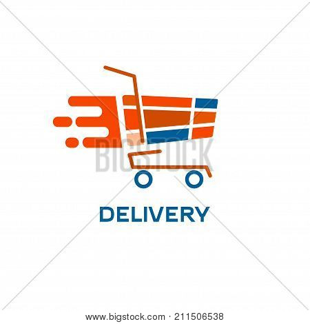 Truck and speed. Shopaholic. Icon online quick delivery. Stock vector