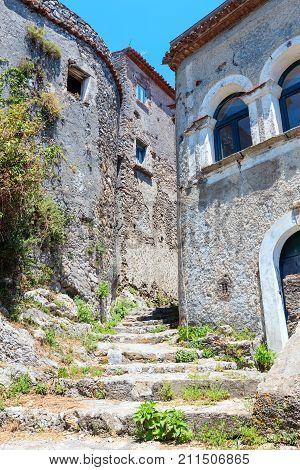 Ruins Of The Original Settlement Of Maratea. Italy