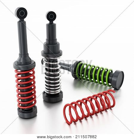 Spare car dampers and springs isolated on white background. 3D illustration.