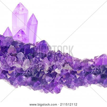 macro photo of lilac amethyst crystals isolated on white background