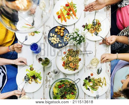 Woman having a dinner party