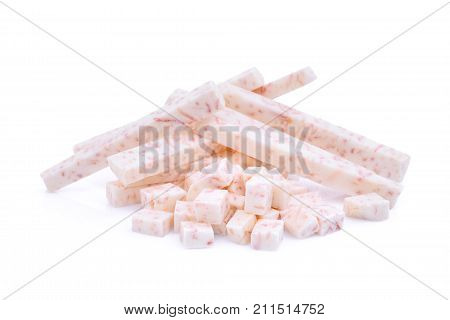 stick and cube of taro root isolated on white background