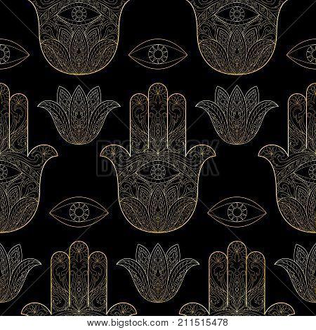 Ornate Hand Drawn Hamsa Seamless Pattern Of Fatima Gold Arabic Indian And