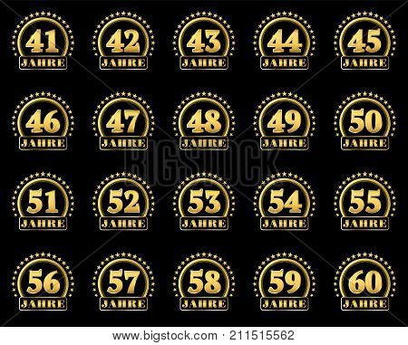 Set Of Gold Numbers From 41 To 60 And The Word Of The Year Decorated With A Circle Of Stars. Vector
