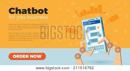 Chat bot landing page design. Vector illustration of robot hands holding smartphone. Icons on background, flat style. Virtual chatbot online help, customer support. Isolated, white background.