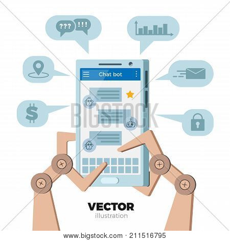 Chat bot vector illustration in flat. Robot hands typing messages on mobile phone. Bubbles with support services icons. Virtual chatbot online help, customer support. Isolated on white background.