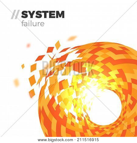 System failure vector abstract background illustration concept. Round-shaped tor explosion. Destruction of complex object with shattering triangles. Digital security illustration. Isolated on white.