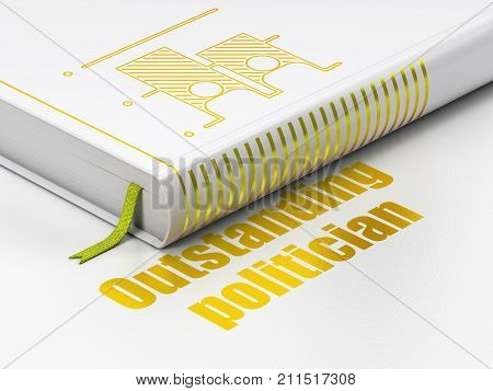 Political concept: closed book with Gold Election icon and text Outstanding Politician on floor, white background, 3D rendering