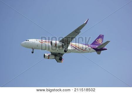 CHIANGMAI THAILAND -DECEMBER 16 2015: HS-TXT Airbus A320-200 of Thaismile airway. Landing to Chiangmai airport from Phuket.