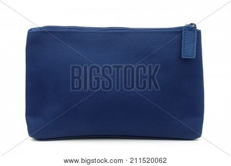 Side view of blue toiletry bag isolated on white poster