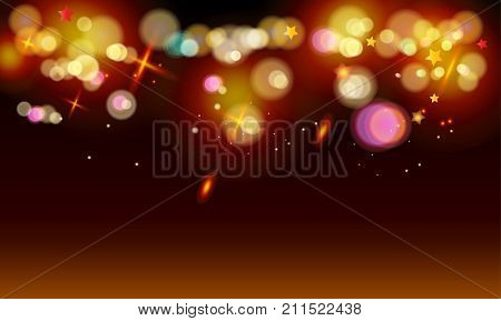 Gold abstract bokeh background, shiny defocus lights vector. Gold defocused sparkles, blurred, transparent, magic decoration. Birthday party, Holiday event, celebration, aniversary, advertising design.