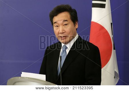 Sofia Bulgaria - 30 Octomber 2017: Prime Minister of the Republic of Korea Lee Nak-yeon speaks at a press conference after meating his Bulgarian counterpart at Council of Ministers.