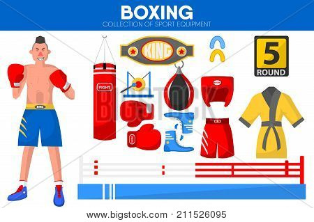 Boxing sport equipment and boxer man garment accessory. Vector isolated flat icons set of box gloves and gown, winner belt and punching bag on boxing ring or referee gong bell