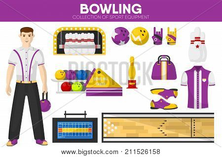 Bowling sport equipment and bowler player man garment accessory. Vector isolated flat icons set of bowl ball bag and pins, boots and gloves or strike score table screen