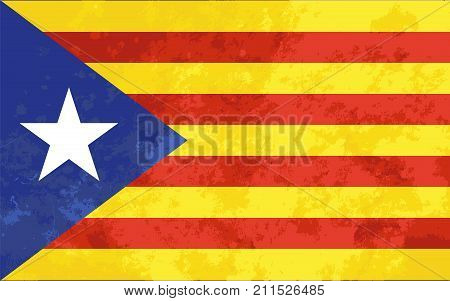Bright colourfull Catalonia flag with grunge texture