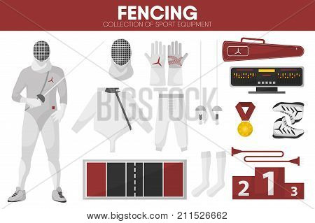 Fencing sport equipment and swordsman fencer man garment uniform clothing accessories. Fencing sword epee, protective mask and jacket, championship score table and award. Vector isolated flat icons