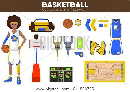 Basketball sport equipment and game player man clothing garment and uniform accessories. Basketball ball, vest and goal basket, playing field score table. Vector isolated icons set