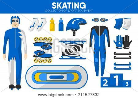Skating sport equipment and roller skater racer man clothing garment or competition uniform accessories. Roller skates at racing skating rink, safety helmet and winner award pedestal. Vector isolated icons set