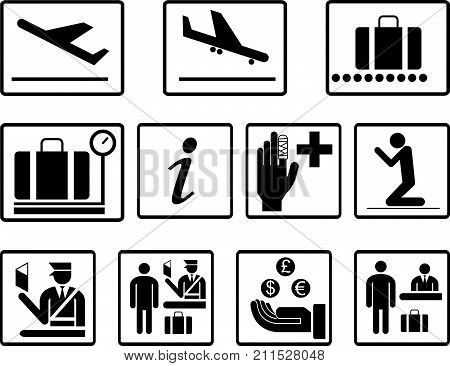 Simple airport 2d icons vector set. Universal airport icons to use for information , airline , departure , arrival , flight , gate , terminal , baggage , money exchange , immigration , tourist sign.