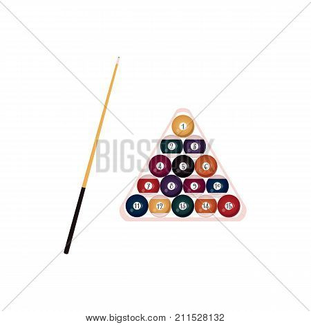 vector flat style wooden cue with black handle and balls with numbers pyramid in wooden rack triangle . Isolated illustration on a white background. Professional snooker, pool billiard equipment