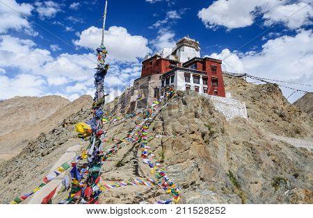 Prayer tibetan flags near the in Leh Palace, Ladakh North India
