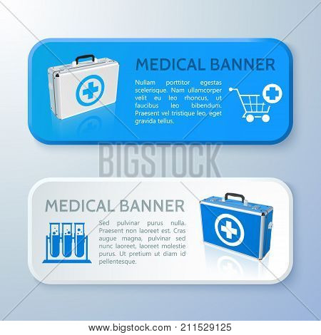 Realistic healthcare horizontal banners with text medical bags tubes and cart isolated vector illustration