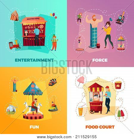 People in amusement park 2x2 design concept with entertainment force fun and food court square icons cartoon vector Illustration