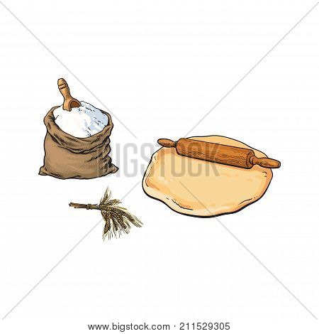 Wooden rolling pin, dough and full burlap sack of flour, sketch style vector illustration isolated on white background. Hand drawn wooden rolling pin, dough, flour burlap sack, shovel and ear of wheat