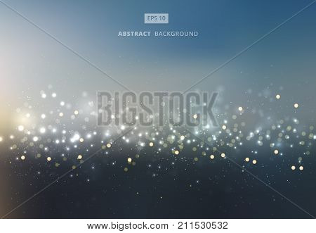 Abstract gold and silver bokeh with sky background. Vector illustration