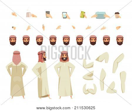 Arab man in traditional long white robe and colored headscarf with modern accessories options constructor set vector illustration