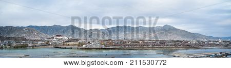 a panoramic view of the lhasa city at dusk tibet China