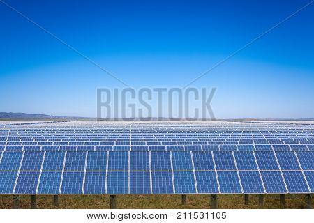 solar power plant with blue sky on prairie new energy in inner mongolia