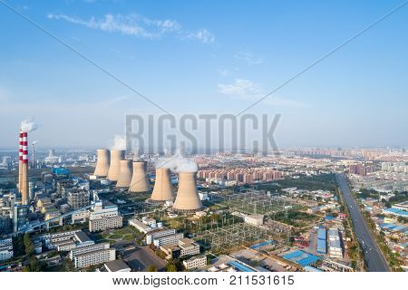 aerial view of thermal power plant dezhou city shandong provinceChina