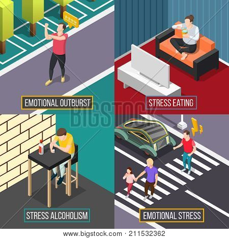 Stress people isometric concept with eating during depression, emotional outburst, alcohol abuse isolated vector illustration