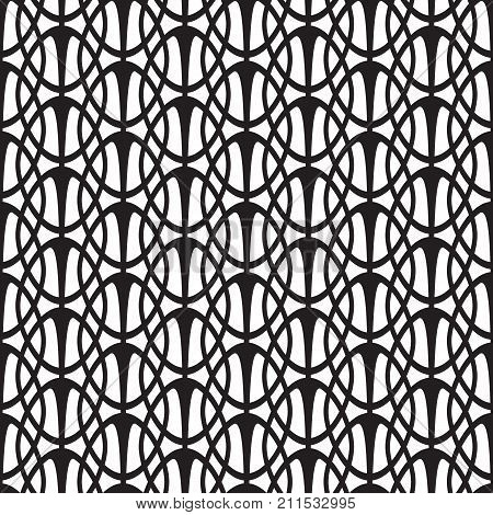 Abstract monochrome seamless pattern with oval geometric interweaving repeating shapes in minimalistic style vector illustration