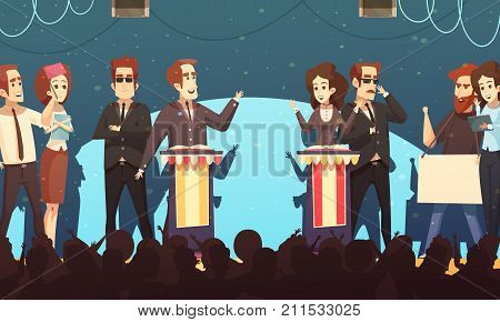 Presidential election candidates engaged in political debates in front of potential voters silhouettes cartoon poster vector illustration poster