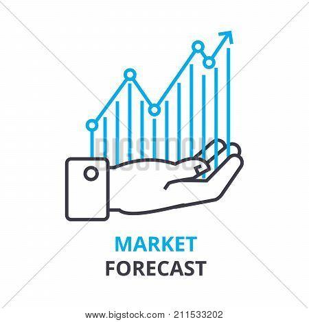 market forecast concept, outline icon, linear sign, thin line pictogram, logo, flat vector, illustration