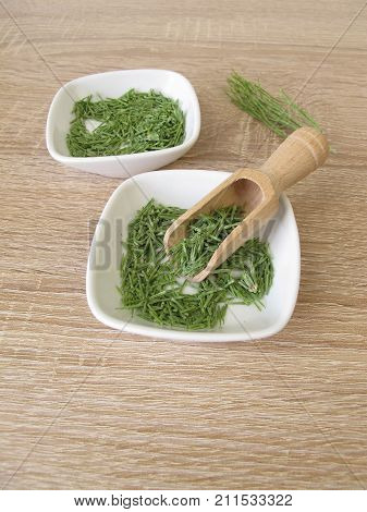 Dried field horsetail herbs in white bowl