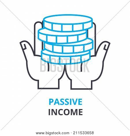 passive income concept, outline icon, linear sign, thin line pictogram, logo, flat vector, illustration
