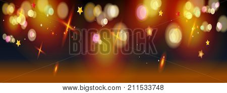 Gold abstract bokeh background, shiny defocus lights, glitter vector. Gold defocused sparkles, blurred, transparent, magic decoration. Birthday party, Christmas, Holiday event, celebration, aniversary, advertising design.