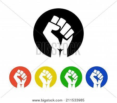Raised fist logo icons set - isolated vector illustration