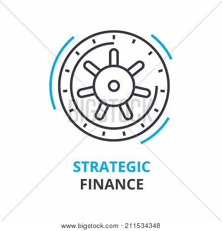 strategic finance concept, outline icon, linear sign, thin line pictogram, logo, flat vector, illustration