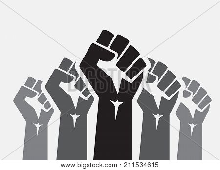 Raised five fists set background - isolated vector illustration