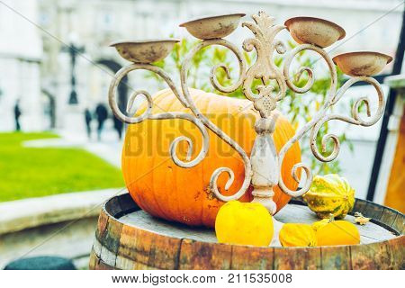 outside caffe with pumpkin nearthe table autumn